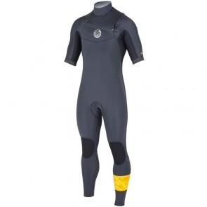 Rip Curl Aggrolite 2mm Short Sleeve Chest Zip Wetsuit - Charcoal
