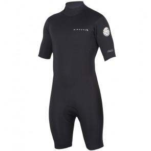 Rip Curl Aggrolite 2mm Short Sleeve Back Zip Spring Suit - Black