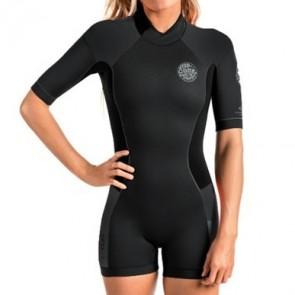 Rip Curl Women's Dawn Patrol 2mm Short Sleeve Back Zip Spring Wetsuit - Black