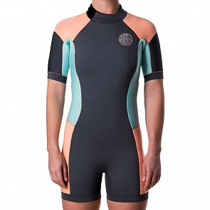 Rip Curl Women's Dawn Patrol 2mm Short Sleeve Back Zip Spring Wetsuit - Peach