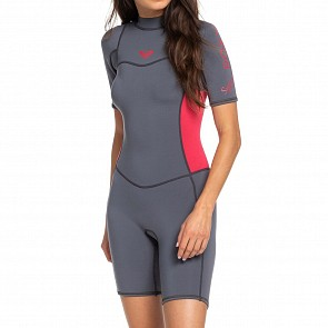 Roxy Women's Syncro 2mm Short Sleeve Spring Wetsuit - Deep Grey/Scarlet