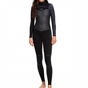 Roxy Women's Syncro Plus 3/2 Chest Zip Wetsuit - Black/Gun Metal