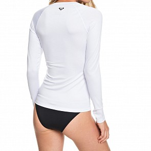 Roxy Women's Essentials Front Zip Long Sleeve Rash Guard - Bright White