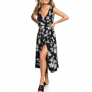 Roxy Women's In The Mood Dress - Anthracite Flower