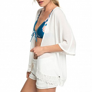 Roxy Women's Revolve Cropped Kimono Top - Marshmallow