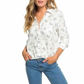 Roxy Women's Setai Miami Long Sleeve Shirt - Marshmallow Flowers Everyday