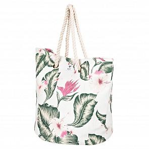 Roxy Women's Sunseeker Straw Beach Bag - Marshmallow Tropical Love