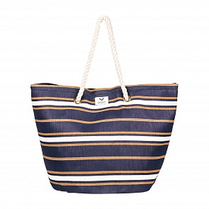 Roxy Women's Sunseeker Straw Beach Bag - Medieval Blue Stripe
