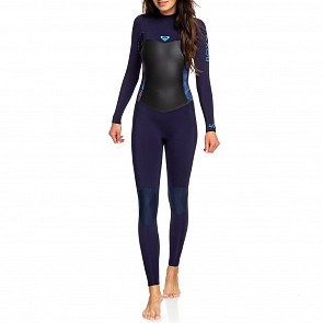 Roxy Women's Syncro 3/2 Back Zip Wetsuit - Blue Ribbon / Coral - Front
