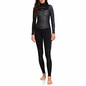 Roxy Women's Syncro Plus 4/3 Chest Zip Wetsuit - Black/Gun Metal