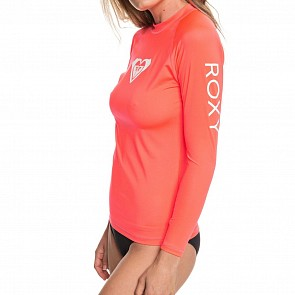 Roxy Women's Whole Hearted Long Sleeve Rash Guard - Fiery Coral