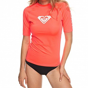 Roxy Women's Whole Hearted Short Sleeve Rash Guard - Fiery Coral