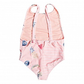 Roxy Youth Girl's Splashing You One-Piece Swimsuit - Peach Bud Fruit Juice