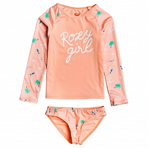 Roxy Youth Girls 2-6 Salty But Sweet Long Sleeve Rash Guard Set - Souffle Summer Hobbies