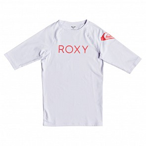 Roxy Youth Girls Funny Waves Short Sleeve Rash Guard - Bright White