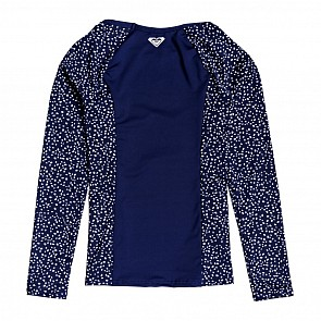 Roxy Youth Girls Long Sleeve Rash Guard - Medieval Blue Dots