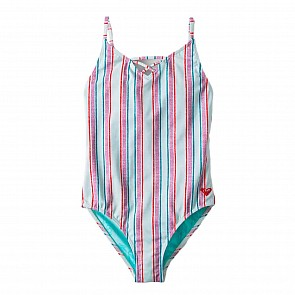 Roxy Youth Girls Treasure Stripe One-Piece Swimsuit - Wan Blue Treasure