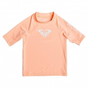 Roxy Youth Girls Whole Hearted Short Sleeve Rash Guard - Souffle