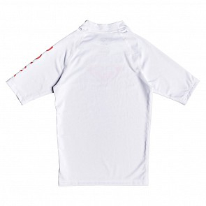 Roxy Youth Girls Whole Hearted Short Sleeve Rash Guard - White
