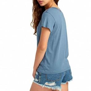 RVCA Women's Angler Pocket T-Shirt - Blue Tide