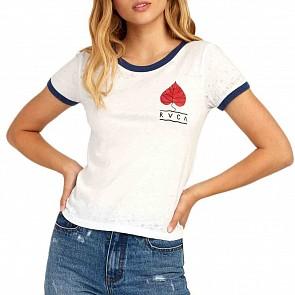 RVCA Women's Foliage Ringer T-Shirt - Vintage White