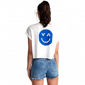 RVCA Women's Happy Sad Cropped T-Shirt - Vintage White