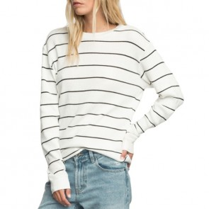 RVCA Neutral Striped Thermal Long Sleeve Top - Antique White