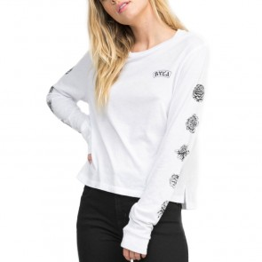 RVCA Women's Rose Long Sleeve Top - White
