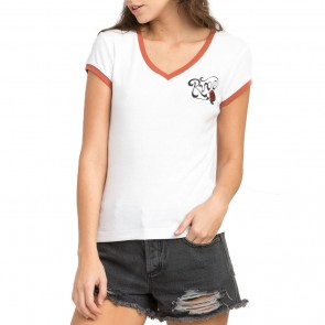 RVCA Women's Bloom V-Neck T-Shirt - Vintage White