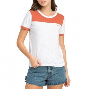 RVCA Women's All Sport Ringer T-Shirt - Snow Marle