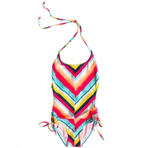 Roxy Youth Girls Tri Monokini Swimsuit - Sunsetter Hibiscus