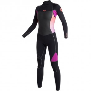 Roxy Women's Syncro LFS 3/2 Back Zip Wetsuit - Black/Violet/Coral