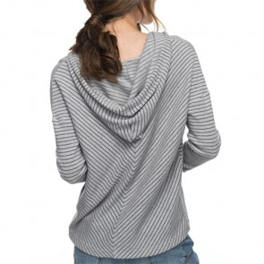 Roxy Women's Aside Stripe Long Sleeve Hooded Top - Heritage Heather Coast