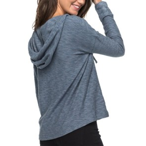 Roxy Women's Wanted And Wild Long Sleeve Hooded Top - China Blue