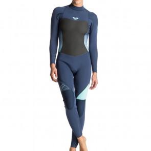 Roxy Women's Syncro 3/2 Flatlock Back Zip Wetsuit - Blue Print