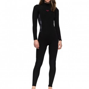 Roxy Women's Syncro 3/2 Flatlock Back Zip Wetsuit - Black