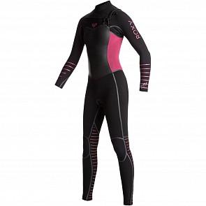 Roxy Women's Syncro Plus 3/2 Chest Zip Wetsuit - Black/Sangria