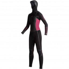 Roxy Women's Syncro Plus 5/4/3 Hooded Chest Zip Wetsuit - Black/Sangria