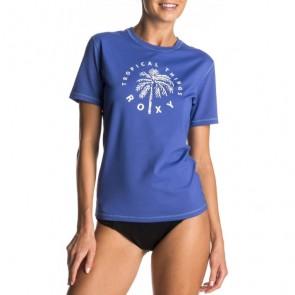 Roxy Women's Palms Away Short Sleeve Rash Guard - Royal Blue