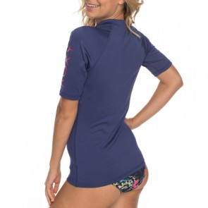Roxy Women's Whole Hearted Short Sleeve Rash Guard - Deep Cobalt
