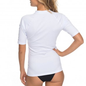 Roxy Women's Whole Hearted Short Sleeve Rash Guard - White - 2018