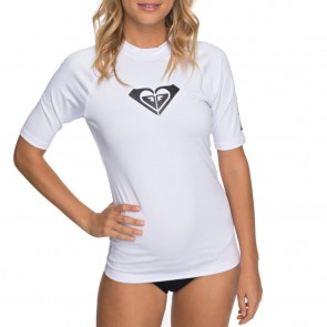 Roxy Women's Whole Hearted Short Sleeve Rash Guard - White