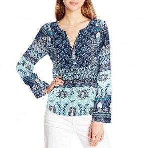 Roxy Women's Havana Long Sleeve Top - Dress Blue Hippie Hop