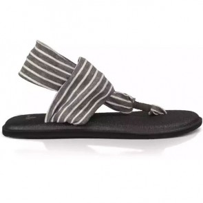 Sanuk Women's Yoga Sling 2 Prints Sandals - Charcoal/Natural Stripes