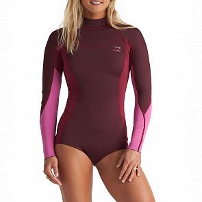 Billabong Women's Synergy 2mm Long Sleeve Back Zip Spring Wetsuit - Maroon