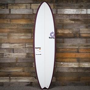 Torq Mod Fish 7'2 x 22 1/2 x 3 Surfboard - Burgundy/White - Deck