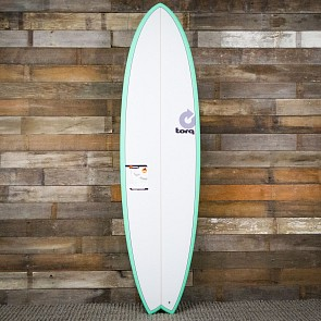 Torq Mod Fish 7'2 x 22 1/2 x 3 Surfboard - Seagreen/White - Deck
