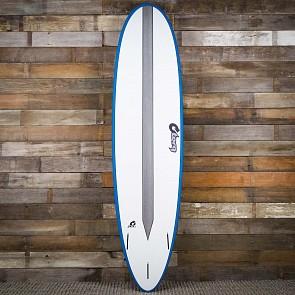 Torq Mod Fun TET-CS 7'6 x 21 1/2 x 2 7/8 Surfboard - White/Teal/Carbon Strip