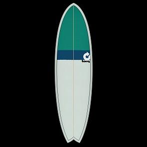 Torq Mod Fish 6'6 x 21 x 2 5/8 Surfboard - Seagreen/Navy/Green - Deck