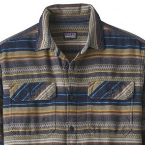 Patagonia Fjord Long Sleeve Flannel Shirt - Folk Dobby/Navy Blue
